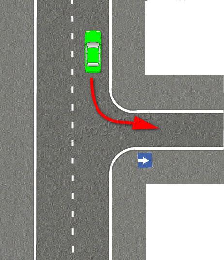 Движение задним ходом на одностороннем движении на перекрестке