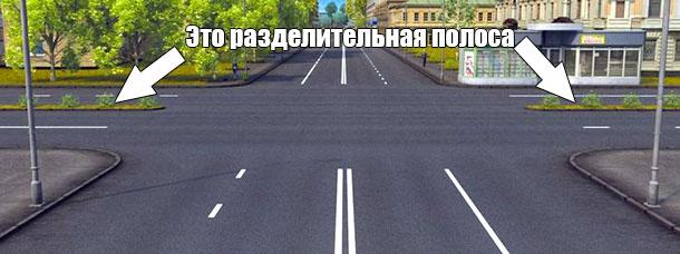 Разделительная полоса на дороге