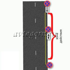 Желтая разметка - ограничение зоны действия знака остановка запрещена. Запрещающие знаки дорожного движения. Картинки с пояснениями