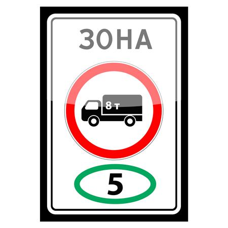 """5.36 """"Зона с ограничением экологического класса грузовых автомобилей"""". Место, с которого начинается территория (участок дороги), где запрещено движение грузовых автомобилей, тракторов и самоходных машин:"""
