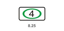 """8.25 """"Экологический класс транспортного средства"""". Указывает, что действие знаков 3.3 - 3.5, 3.18.1, 3.18.2 и 4.1.1 - 4.1.6 распространяется на механические транспортные средства:"""